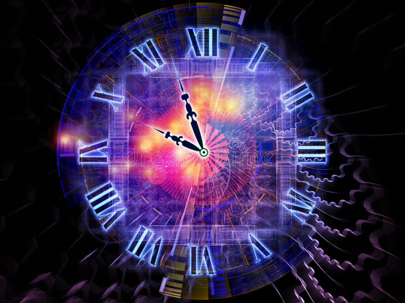 Space of time. Background design of clock hands, gears, lights and abstract design elements on the subject of time sensitive issues, deadlines, scheduling royalty free illustration