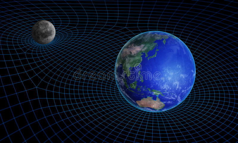 Space time continuum curvature stock illustration for Space time curvature