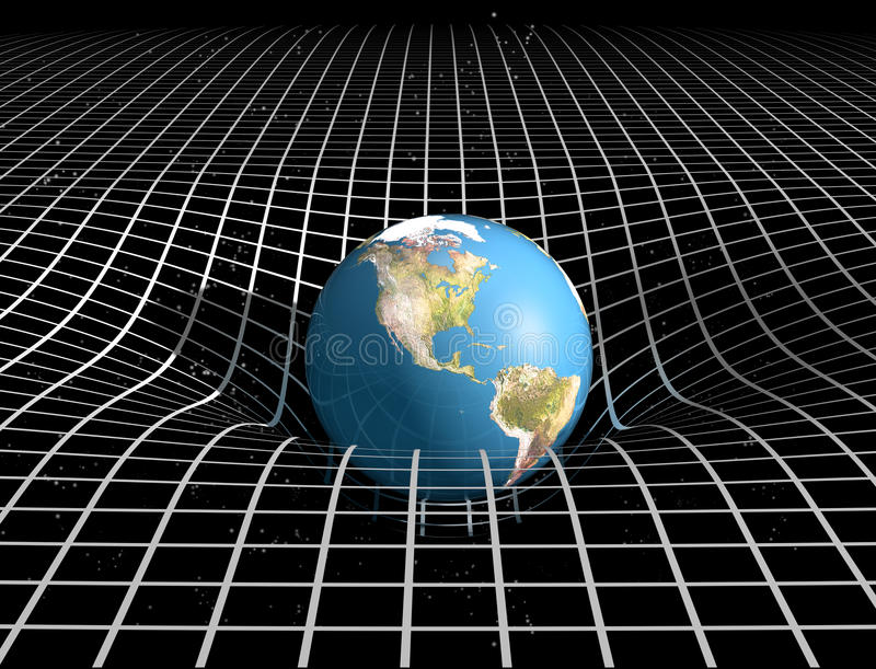Space Time and Gravity. Original illustration showing the link between space time and gravity royalty free illustration
