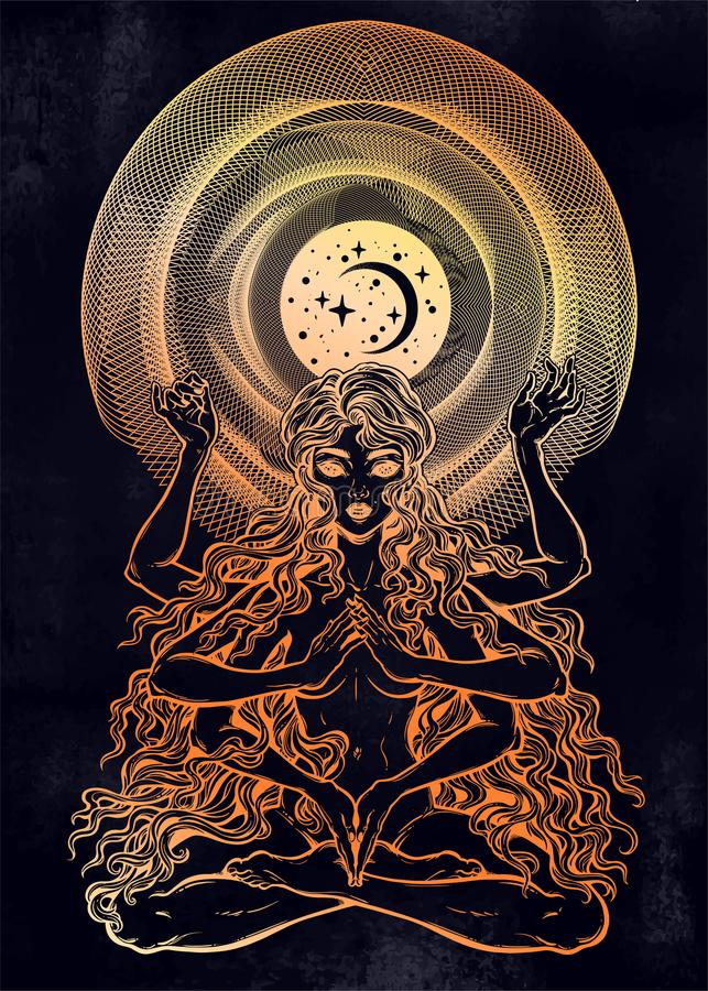Space and time universe many armed goddess girl in lotus position with long hair, six hands. Feminine magic diety with spiritual powers. Hinduism, wicca royalty free illustration
