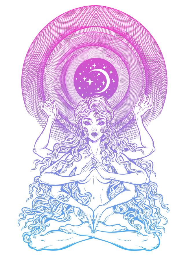 Space and time universe many armed goddess girl in lotus position with long hair, six hands. Feminine magic diety with spiritual powers. Hinduism, wicca stock illustration