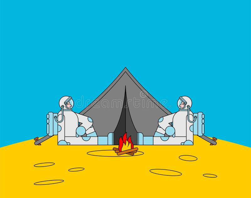 Space tourism. Cosmic camping. Astronaut and tent. spaceman on vacation royalty free illustration