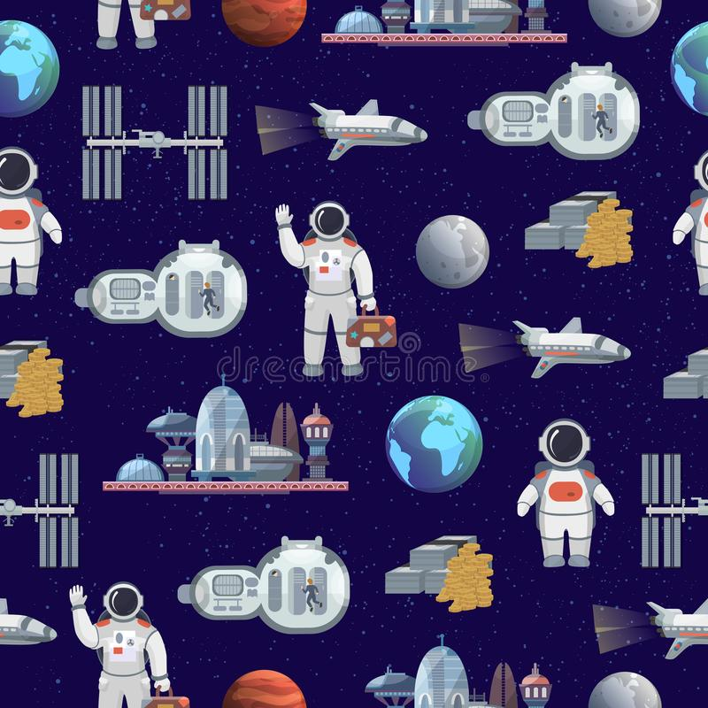 Space tourism future travel city vector illustration with astronaut and spaceship seamless pattern background stock illustration