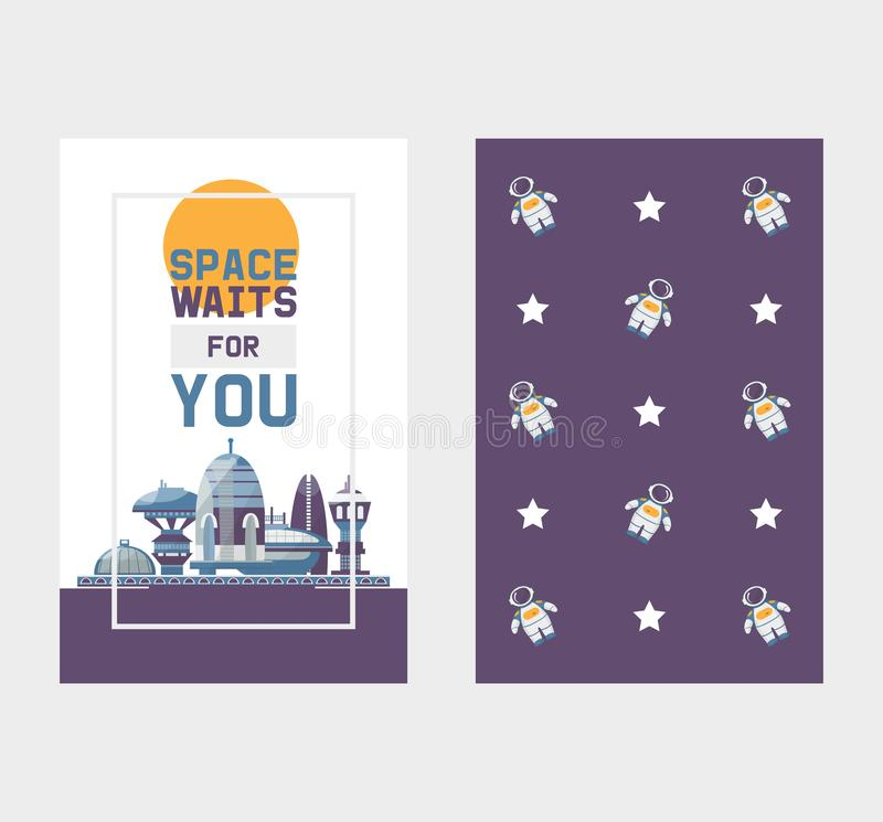 Space tourism to cosmos and space station tours vector two sides banner with pattern. Space station with spaceships tour royalty free illustration