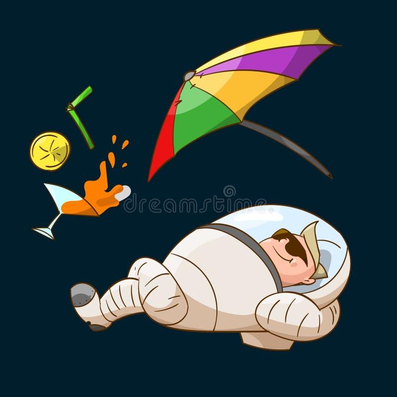 Space tourist in zero gravity vector illustration