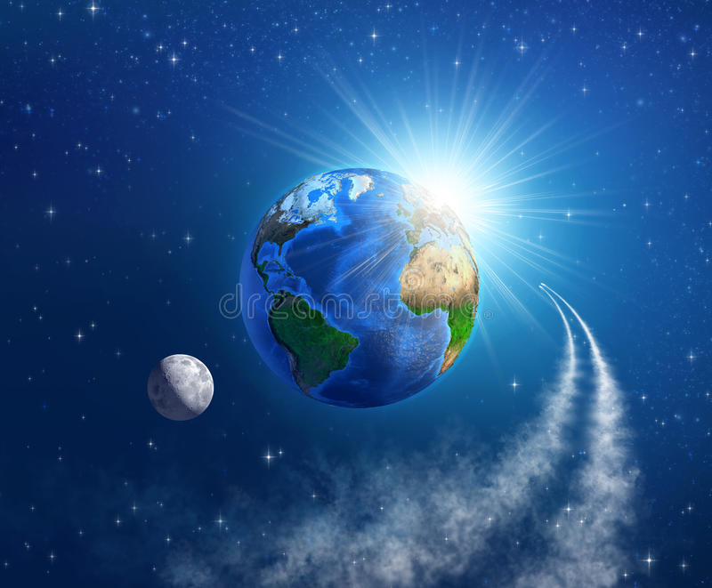 Space travel around the Earth stock illustration