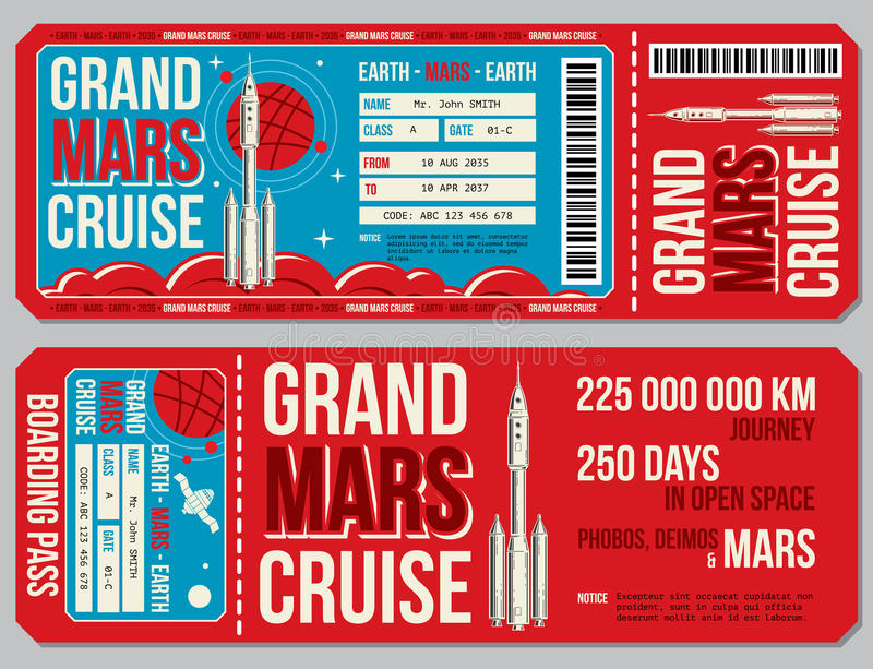 Space travel boarding pass vector template. Journey to Mars tickets vector illustration