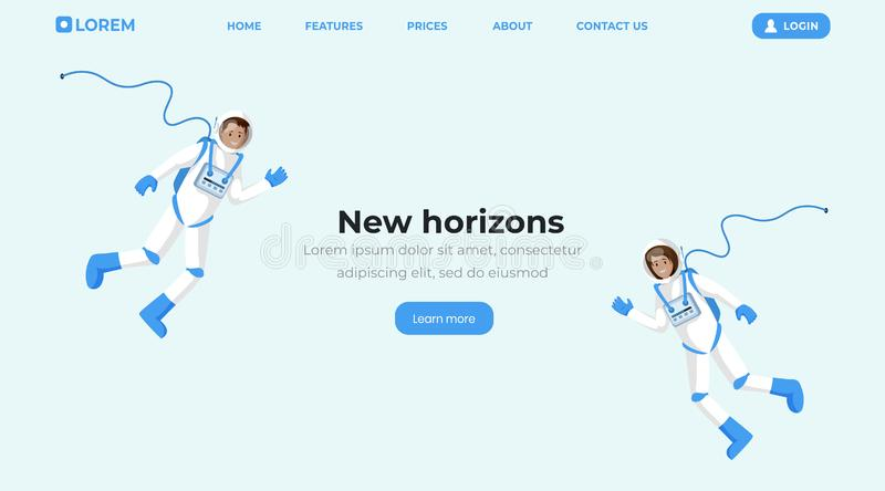 Space travel flat landing page template. Cosmonauts in spacesuits floating in zero gravity and waving hands cartoon. Vector characters. Space mission, universe royalty free illustration