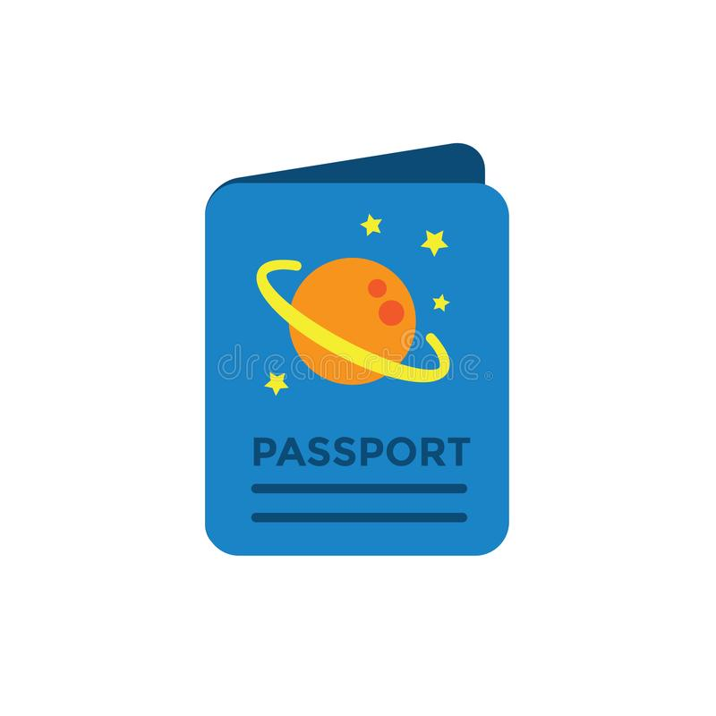 Space Travel icon - Passport - Tourism to Outer Space - Exploration Astrotourism stock illustration