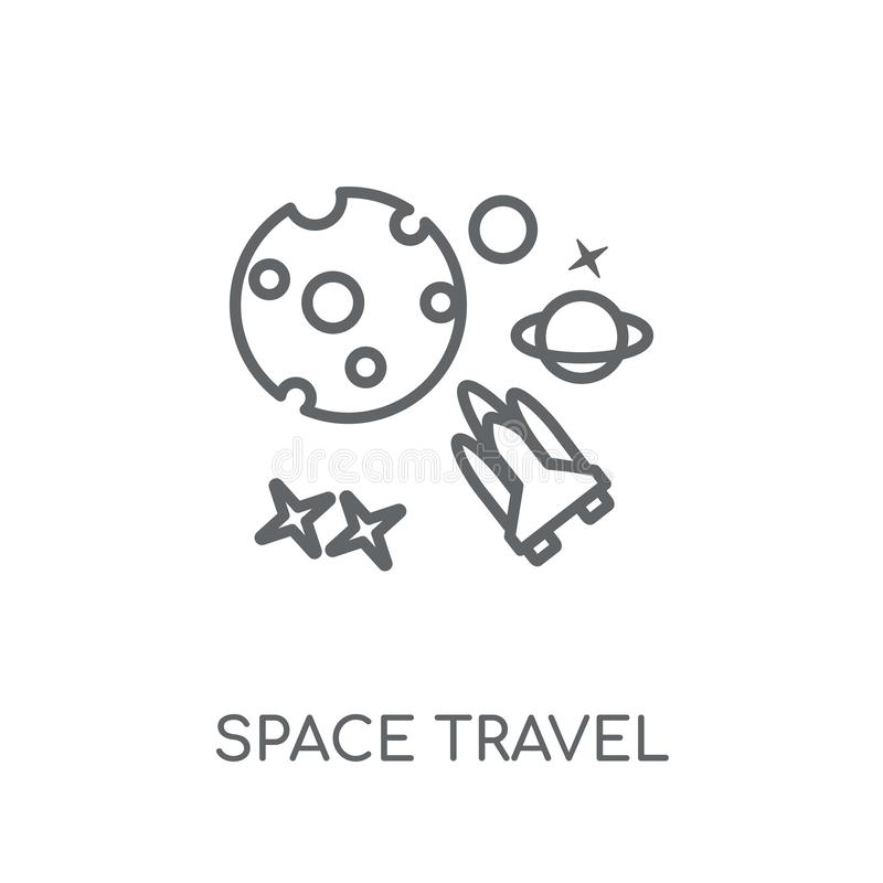 Space travel linear icon. Modern outline Space travel logo conce. Pt on white background from ASTRONOMY collection. Suitable for use on web apps, mobile apps and stock illustration