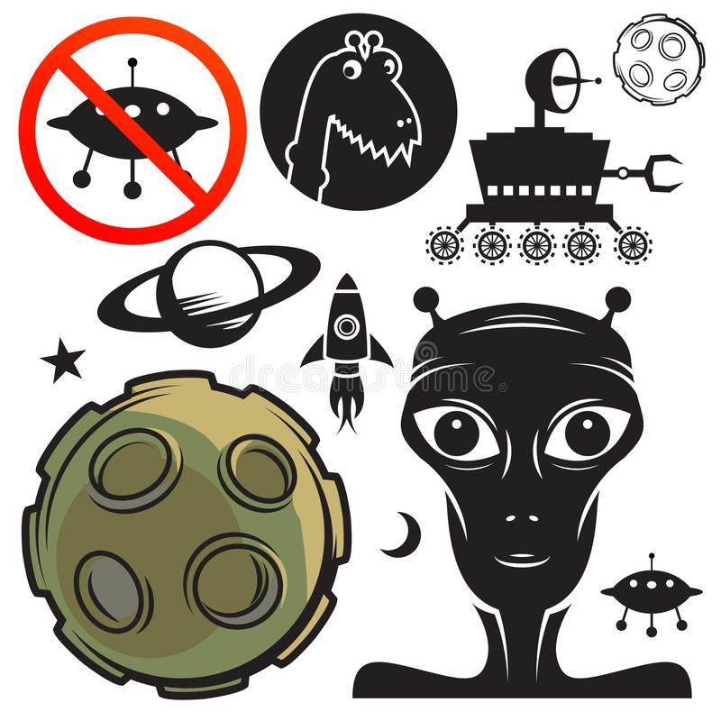 Space Travel Signs Or Symbols Set Stock Vector Illustration Of
