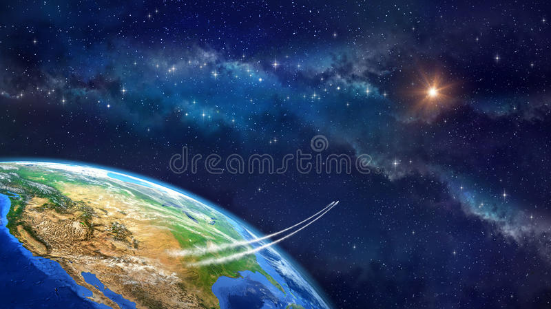 Space travel stock illustration