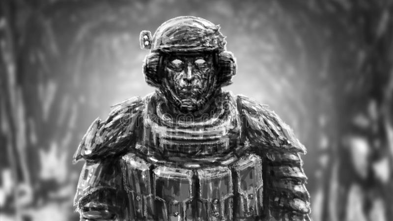 Space trooper in suit. Science fiction genre. Front view. Black and white color royalty free illustration