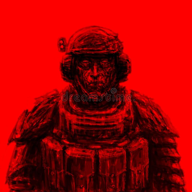 Space trooper in suit. Science fiction genre. Front view. Red background stock illustration