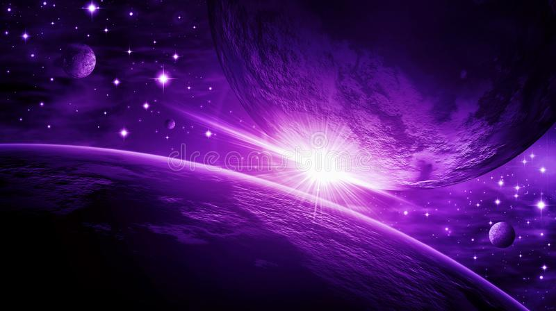 Space, universe, space, planets, glitter stars, clusters of stars, science, astronomy, dark, purple, black, blue stock illustration