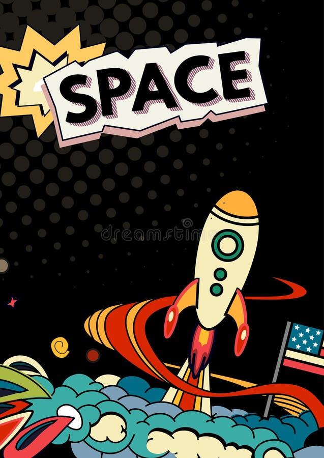 Space vector background. Cartoon vector illustration of space. Moon, planet, rocket, earth, cosmonaut, comet, universe Classification milky way Hand drawn Comics vector illustration