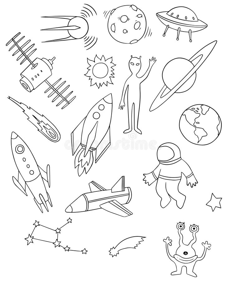 Space vector drawing set stock vector. Illustration of