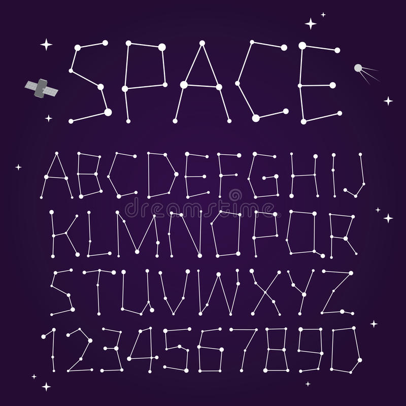 Space vector font vector illustration