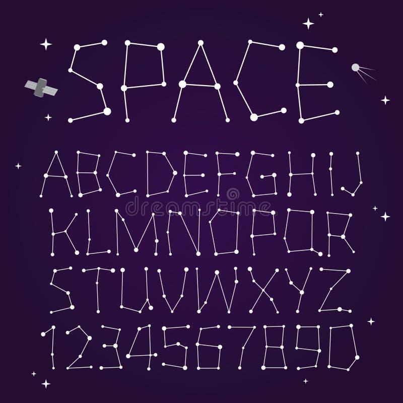 Space vector font vector illustration