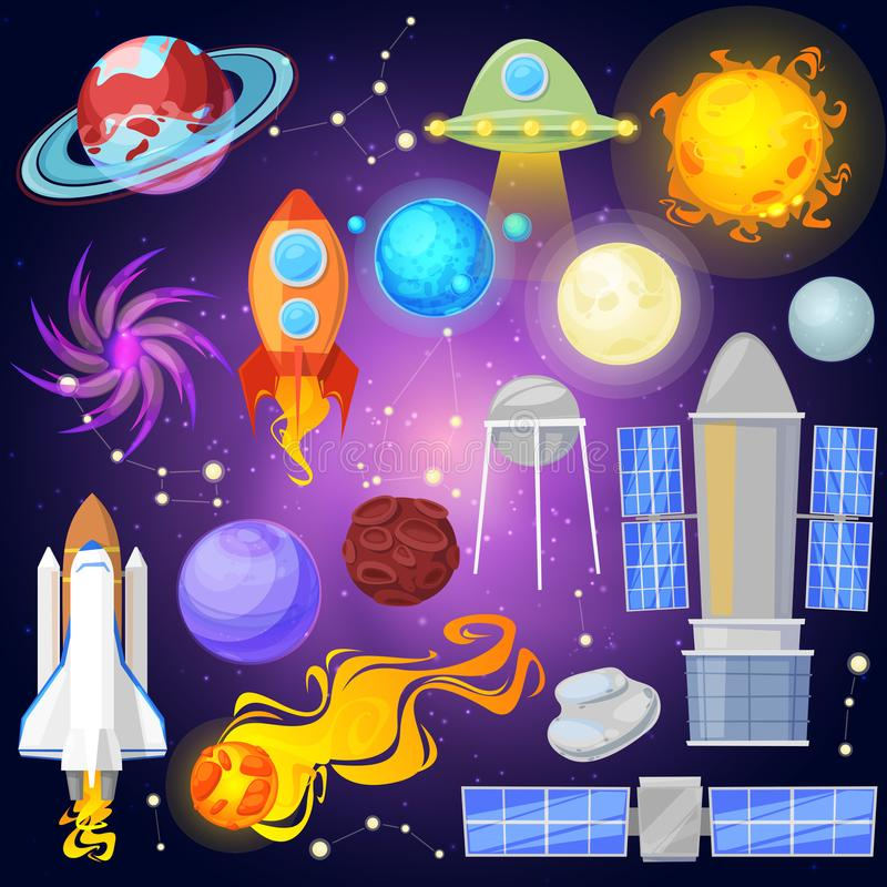 Space vector planets and spaceship in planetary system with mercury venus earth or mars in planetarium and astronomical. Illustration set of satellite and comet royalty free illustration