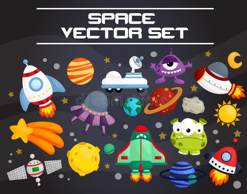 Space vector set royalty free illustration