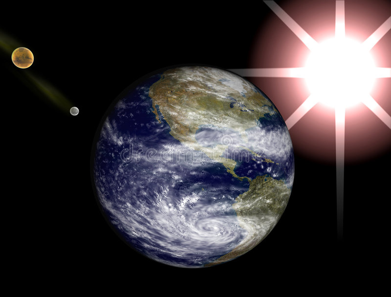 Space view, earth, moon and sun stock photography