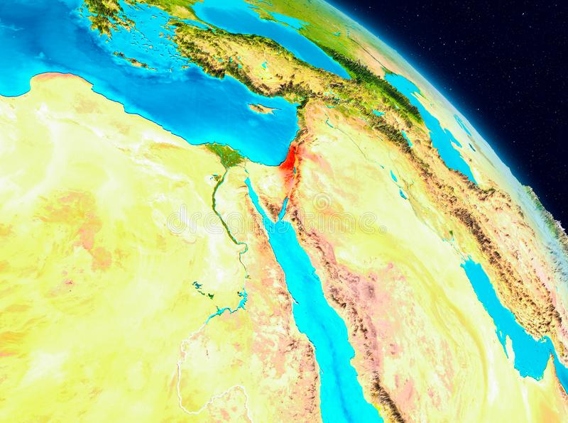 Israel on Earth. Space view of Israel highlighted in red on planet Earth. 3D illustration. Elements of this image furnished by NASA vector illustration