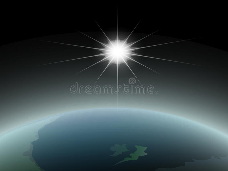 Space View Of The Sun And Earth Stock Image