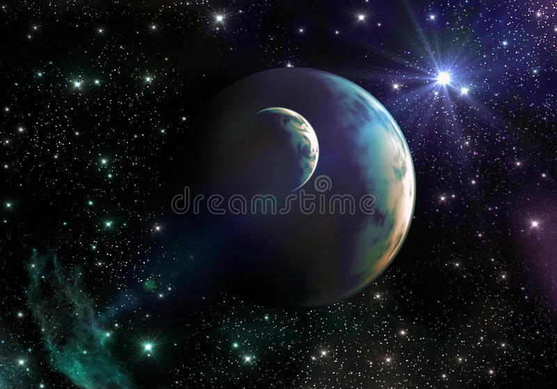 Earth-like Planets in Space with Stars and Nebula vector illustration