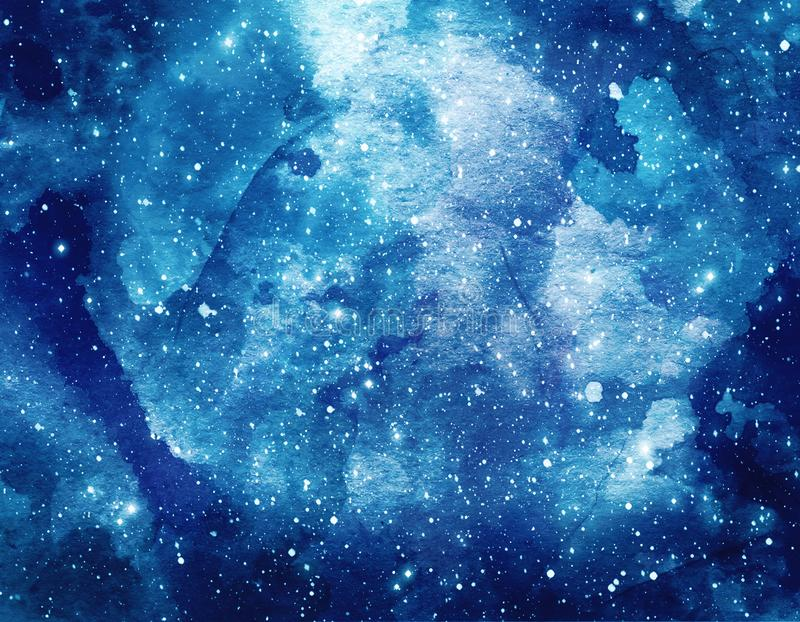 Space watercolor background. Abstract galaxy painting. Cosmic texture with stars royalty free stock image