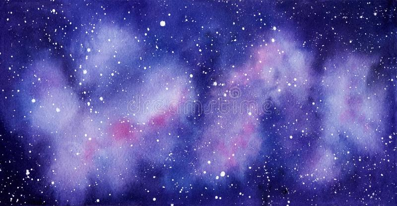 Space watercolor hand painted background. Abstract galaxy painting. stock photography