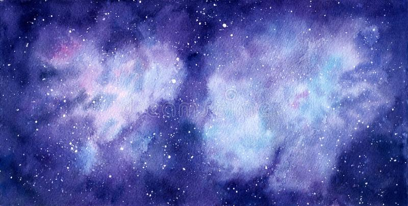 Space watercolor hand painted background. Abstract galaxy painting. royalty free illustration