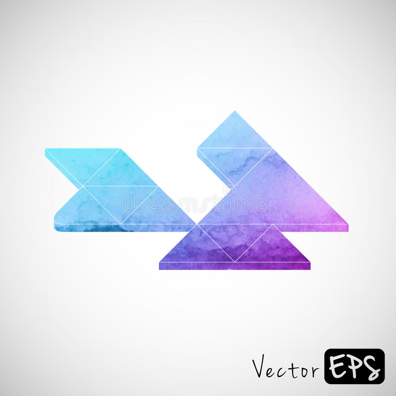 Space watercolor triangle, abstract background stock illustration