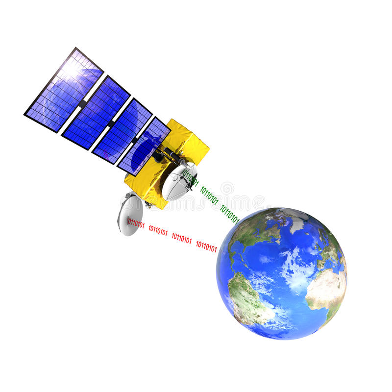 Download Spacecraft Emitting And Receiving Data From Earth Stock Illustration - Image: 20659507