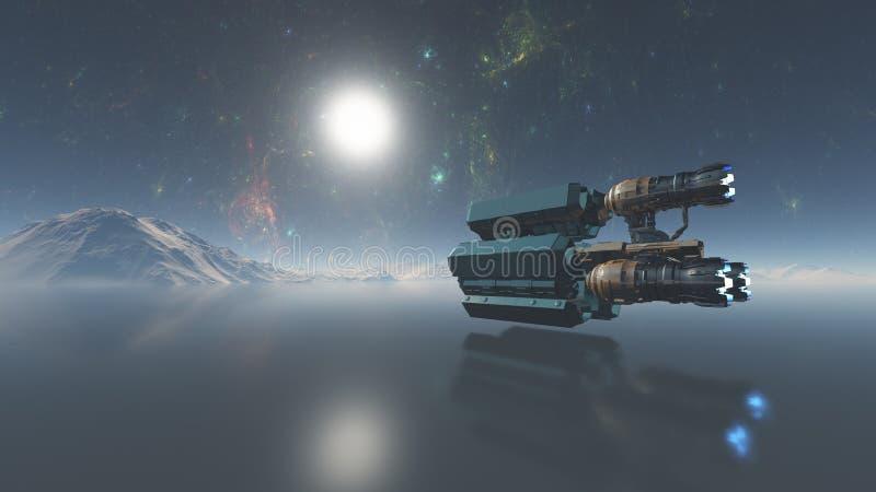 Spacecraft flying over the alien planet ocean, 3d illustration, 3d Render royalty free illustration