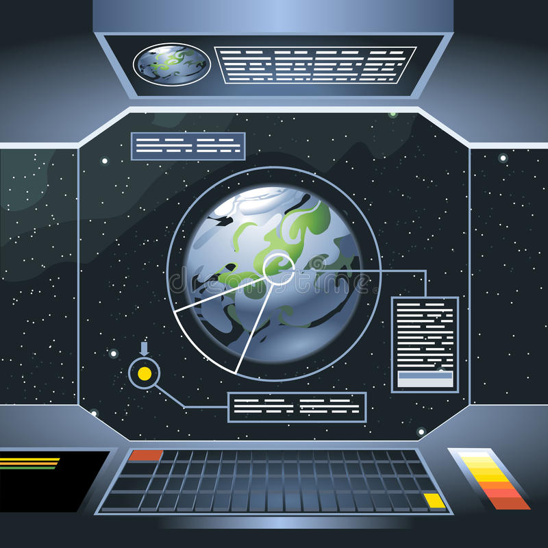 Spacecraft interior view and window to space and planet stock illustration