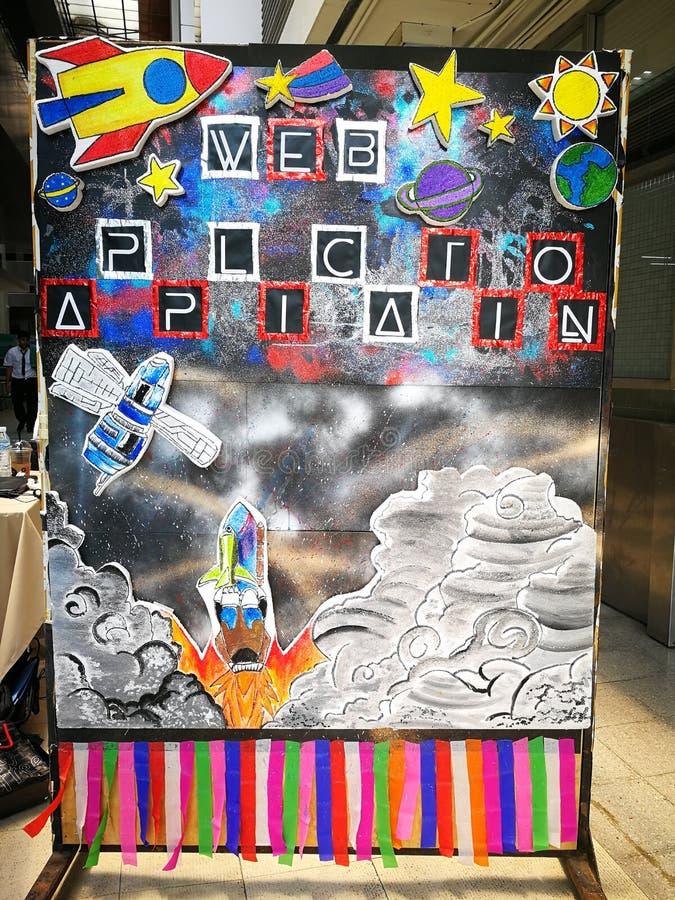 Spacecraft item cartoon in student board. In workshop stock photography
