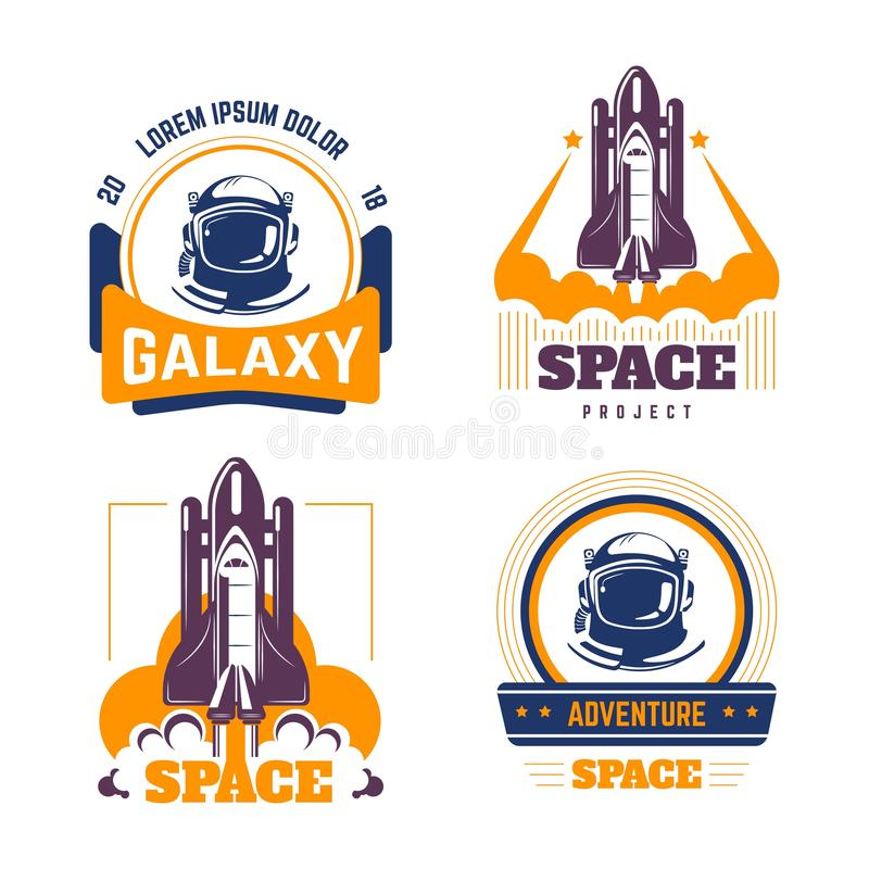 Spacecraft and pressure suit space exploration isolated icons vector illustration