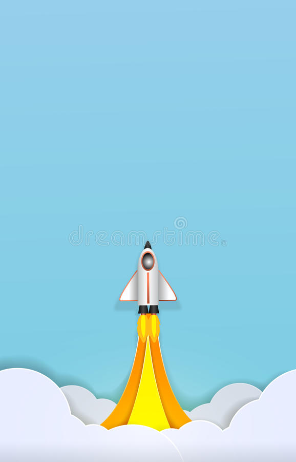 Spacecraft takes off into space paper art cute paper cut vector illustration
