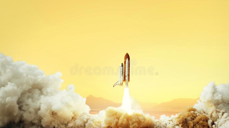 Spacecraft takes off into space on the planet Mars. Journey to the red planet. Rocket takes off in the desert. stock image