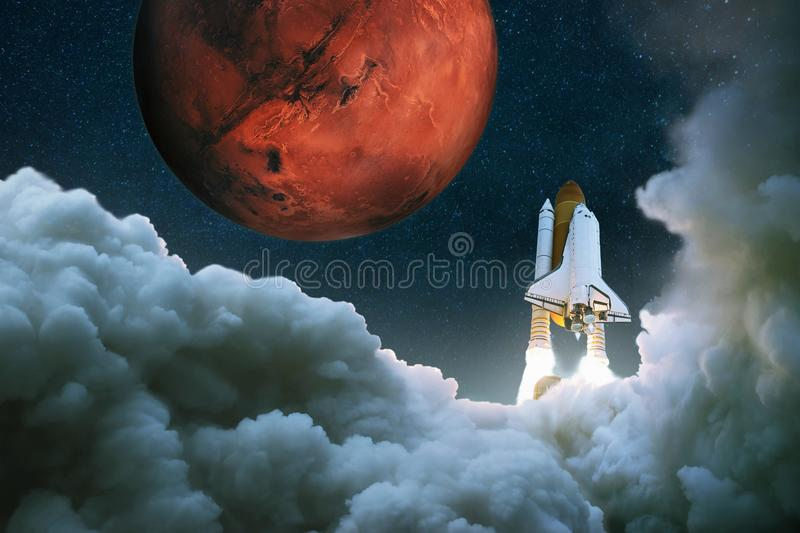 Spacecraft takes off into space. Rocket flies to Mars. Space Shuttle Takes Off. Journey to the red planet. stock illustration