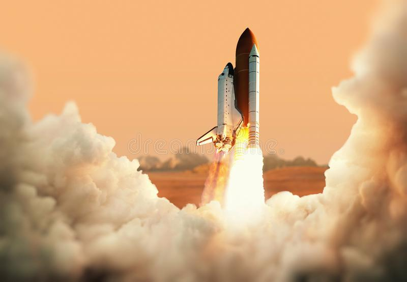 Spacecraft takes off into space. Rocket on the planet Mars royalty free stock image