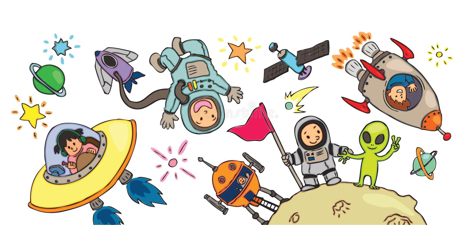 Spacekid adventure for decoration royalty free illustration