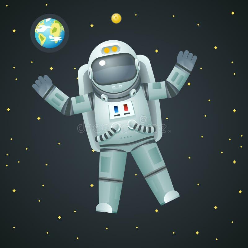 Spaceman αστροναυτών κοσμοναυτών ρεαλιστικό τρισδιάστατο διαστημικό εικονίδιο υποβάθρου γήινων φεγγαριών αστεριών απεικόνιση αποθεμάτων