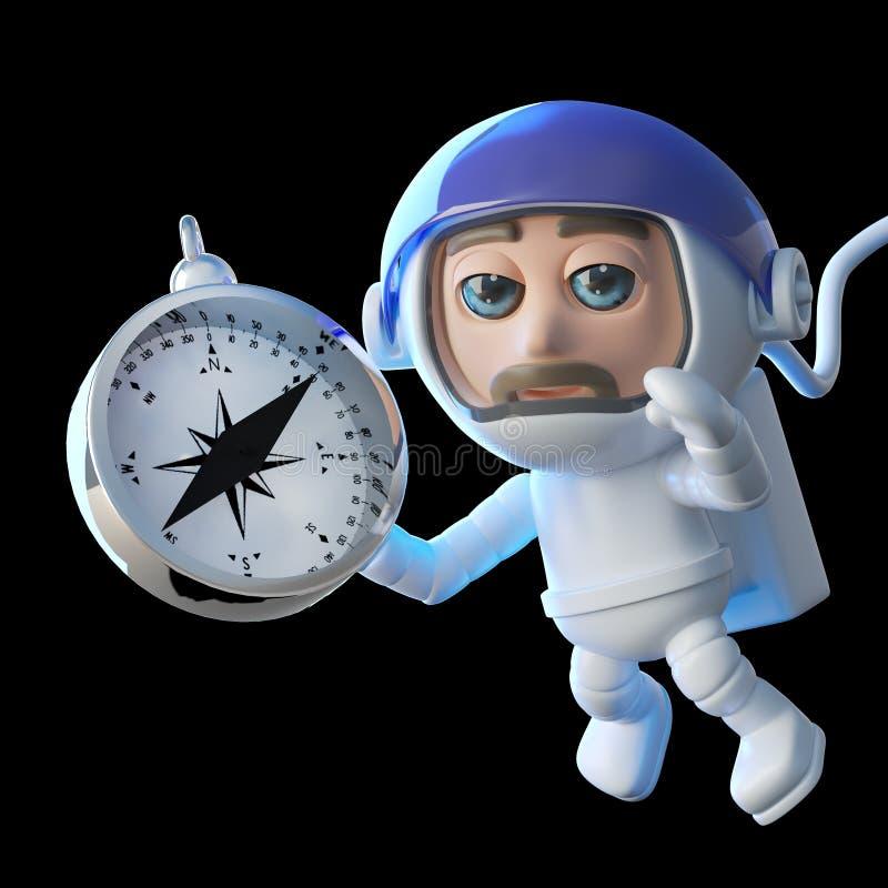 Spaceman αστροναυτών σε τρισδιάστατο με τη μαγνητική πυξίδα ελεύθερη απεικόνιση δικαιώματος