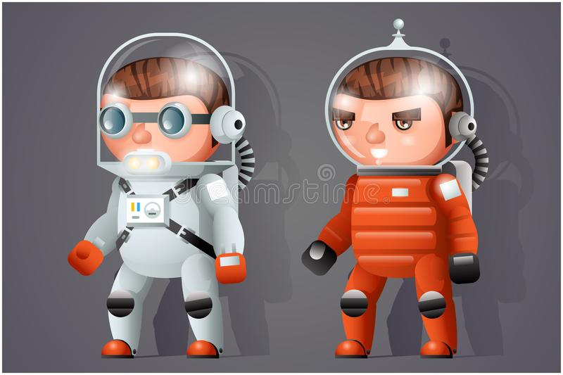 Spaceman κοσμοναυτών αστροναυτών διαστημική εικονιδίων sci-Fi κινούμενων σχεδίων RPG διανυσματική απεικόνιση σχεδίου παιχνιδιών τ απεικόνιση αποθεμάτων