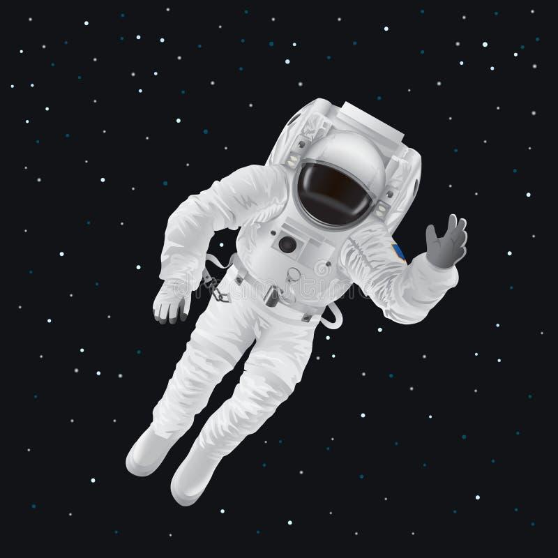 Spaceman στο κοστούμι πίεσης έξω στο διάστημα μεταξύ των αστεριών ελεύθερη απεικόνιση δικαιώματος
