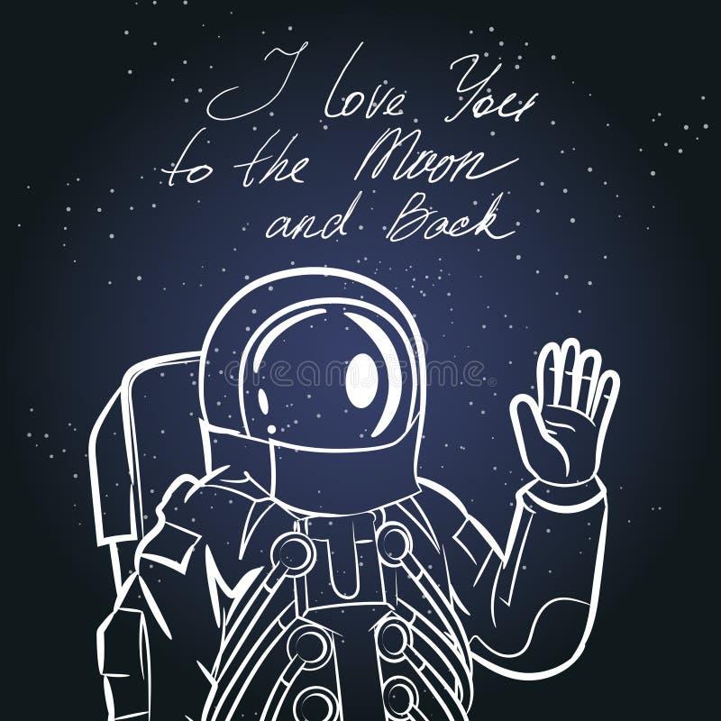 Spaceman, astronaut. Vintage typography hand drawn vector illustration