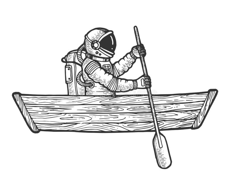 Spaceman boat sketch engraving vector. Astronaut spaceman rowing in wooden boat sketch engraving vector illustration. Scratch board style imitation. Black and royalty free illustration