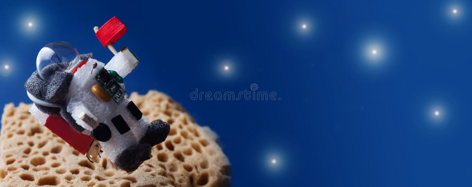Spaceman floating stratosphere, planet blue sky stars background. Light bulb character dressed in spacesuit astronaut royalty free stock images